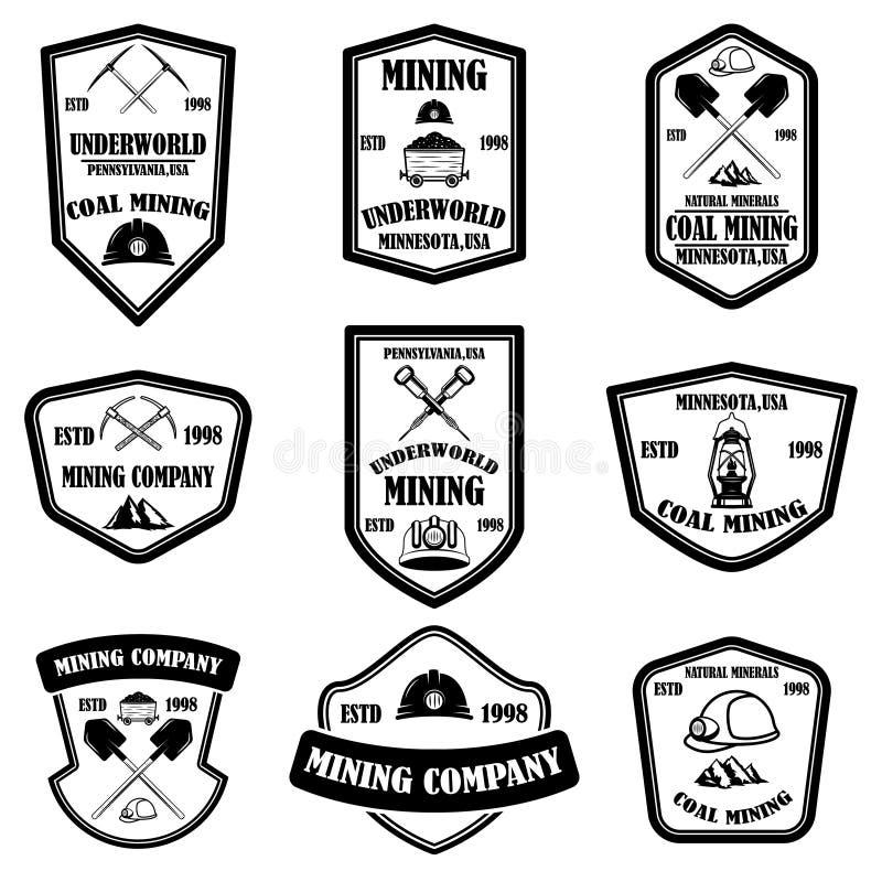 Установите шаблонов эмблемы горнодобывающей компании Элемент дизайна для логотипа, ярлыка, эмблемы, знака, значка стоковая фотография