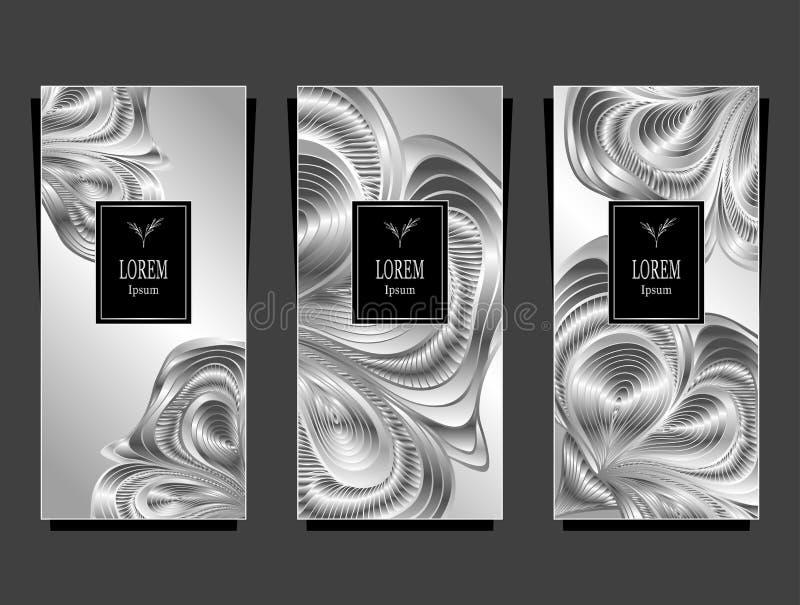 Установите шаблон для пакета от роскошной предпосылки сделанной фольгой в черном серебре бесплатная иллюстрация