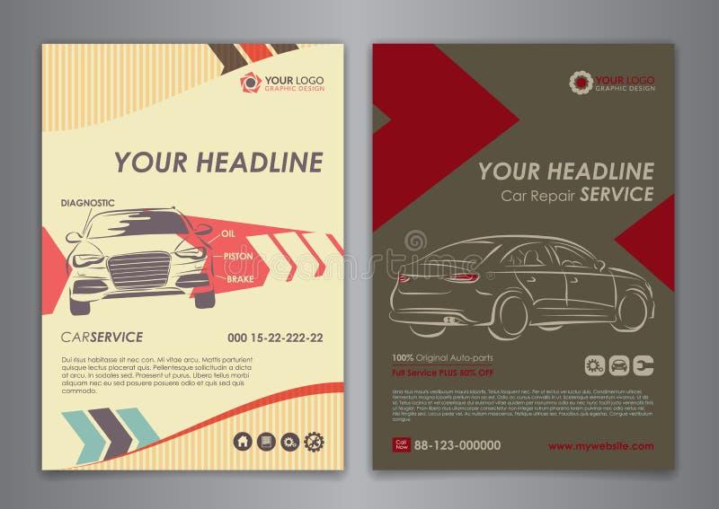 Установите A5, шаблоны плана дела автомобиля обслуживания A4 Шаблоны брошюры ремонта автомобилей, обложка журнала автомобиля иллюстрация вектора