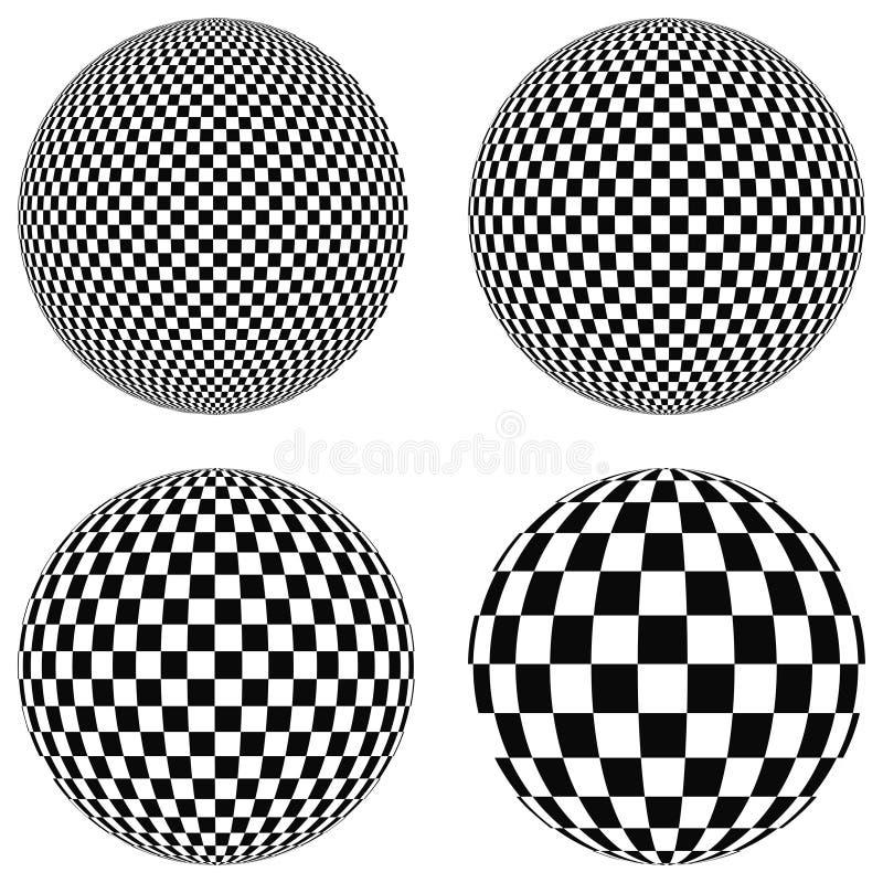 Установите шарики 3D с квадратами черно-белого на самолете, сфере, иллюстрация вектора