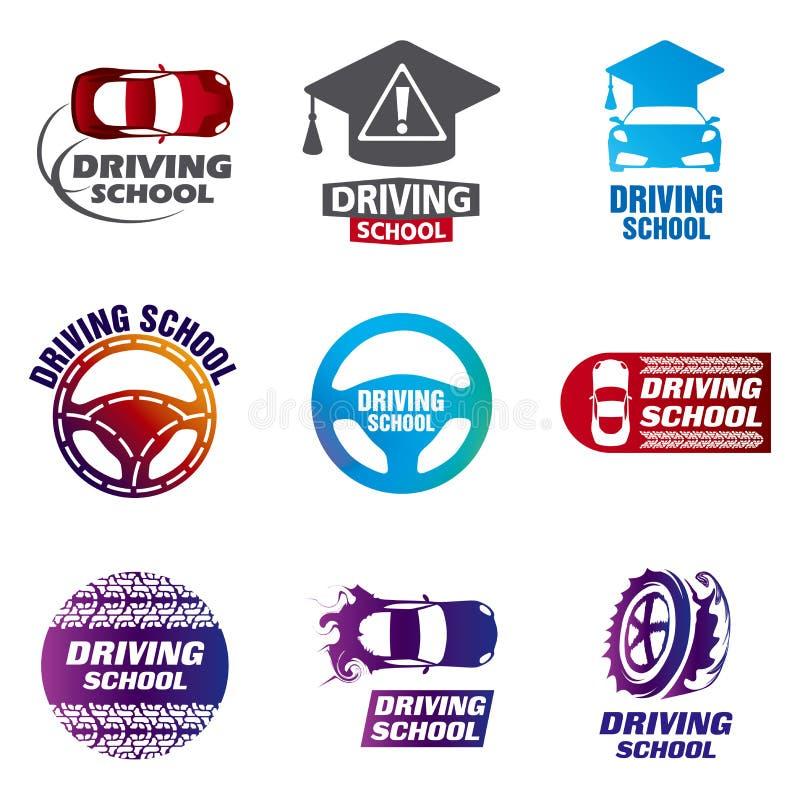 Установите школы логотипов вектора управляя, автомобиля бесплатная иллюстрация