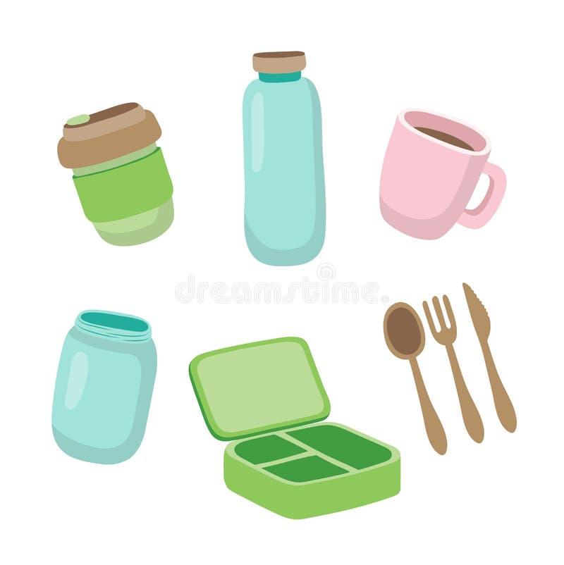 Установите экологических деталей - многоразовой кофейной чашки, стеклянного опарника, деревянного столового прибора, коробки для  иллюстрация вектора