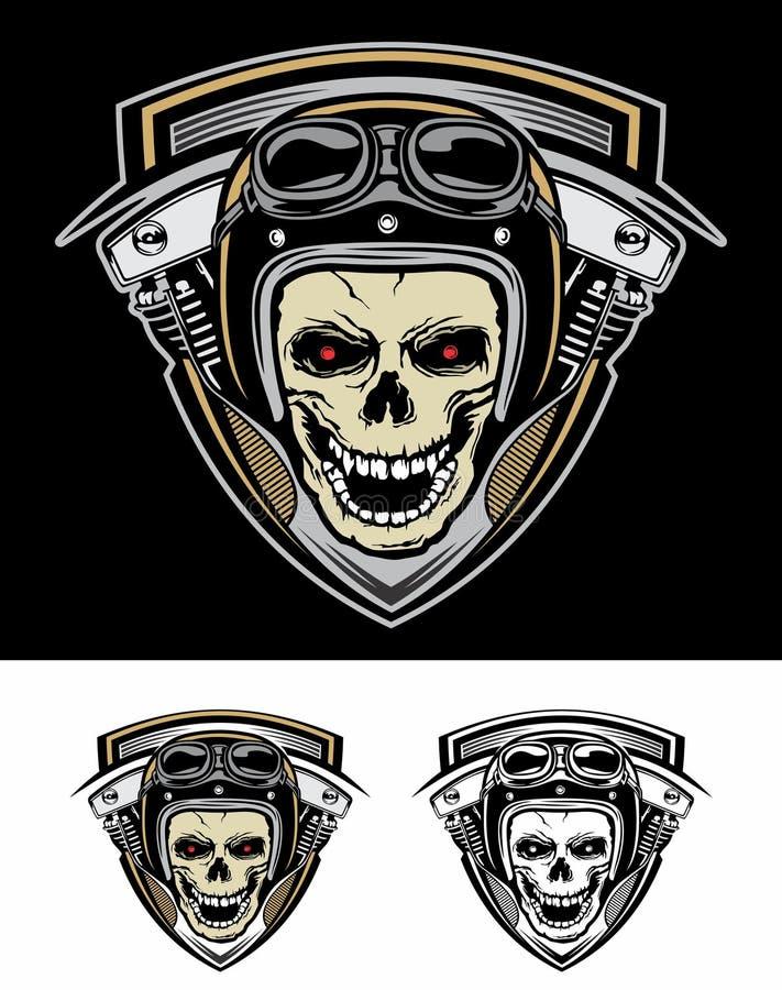 Установите экран машины черепа велосипедистов логотипа бесплатная иллюстрация