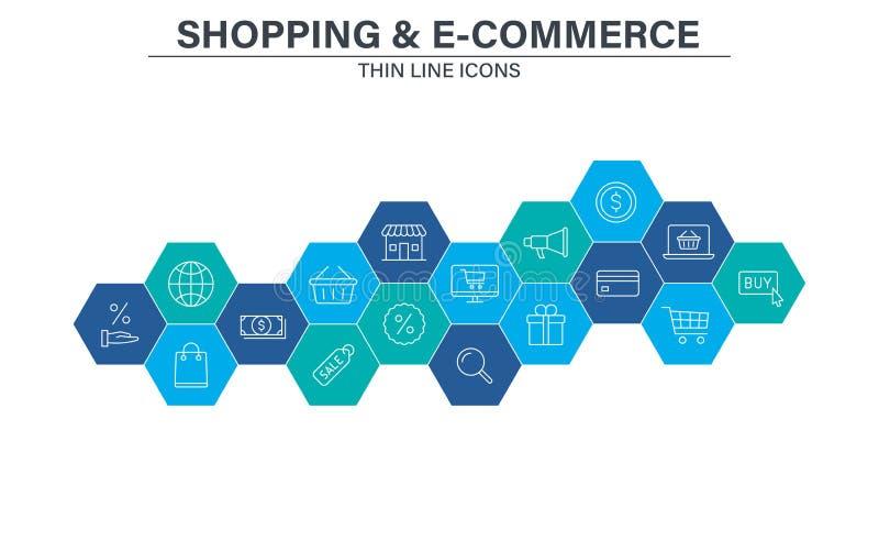 Установите электронной коммерции и ходя по магазинам значков сети в линии стиле Мобильный магазин, маркетинг цифров, карта банка, бесплатная иллюстрация