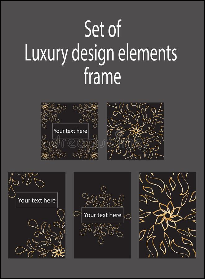 Установите элементов дизайна золота черных декоративных роскошных Ярлыки и рамки иллюстрация штока