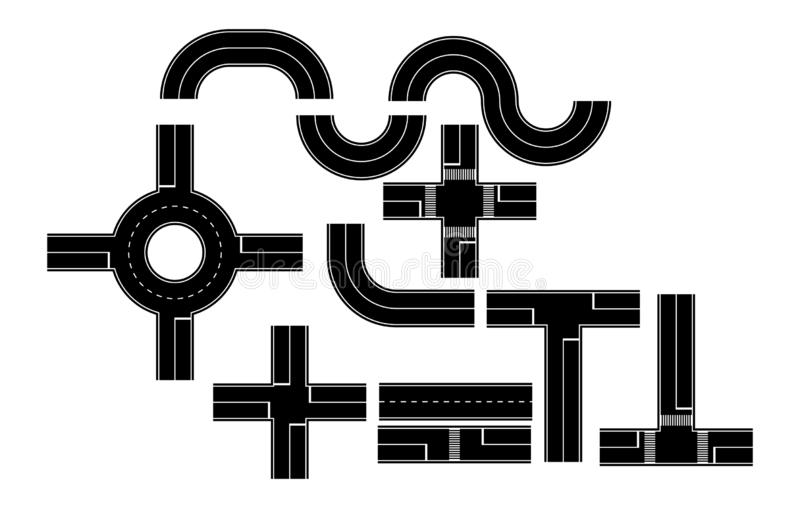 Установите элементов дороги для моделирования, плоского дизайна бесплатная иллюстрация