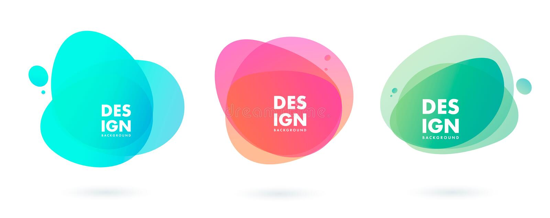 Установите элементов конспекта современных графических Динамические покрашенные формы и линия r иллюстрация штока