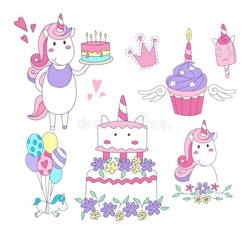 Установите элементов партии единорога Торт, пирожное, единороги, воздушные шары, мороженое, крона также вектор иллюстрации притяж иллюстрация вектора
