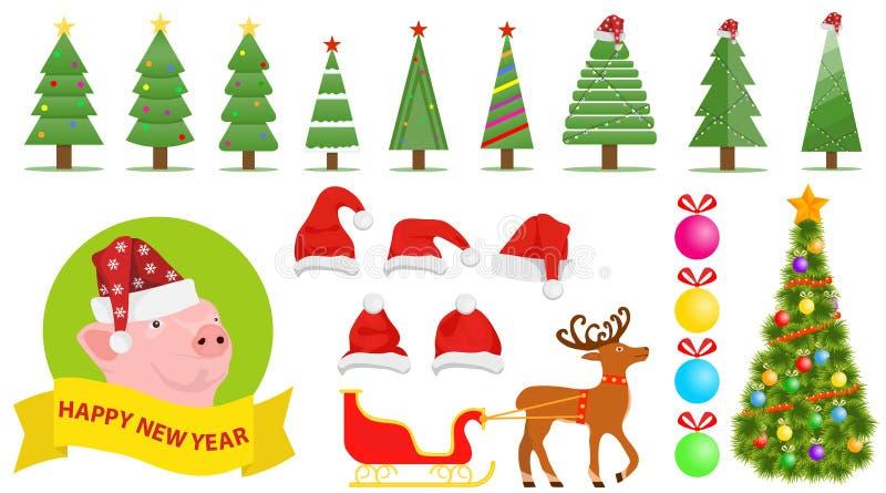 Установите элементов рождества и Нового Года Шляпа Санта Клауса, рождественская елка, украшения рождества бесплатная иллюстрация