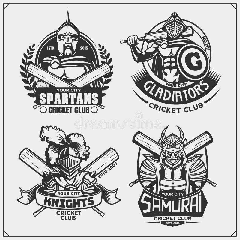 Установите эмблем клуба сверчка, ярлыков, значков и элементов дизайна со старыми воинами r бесплатная иллюстрация