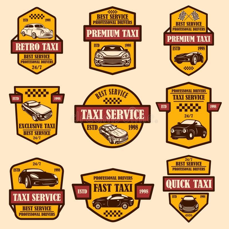 Установите эмблем обслуживания такси Элемент дизайна для логотипа, ярлыка, знака, плаката, карты стоковые фотографии rf