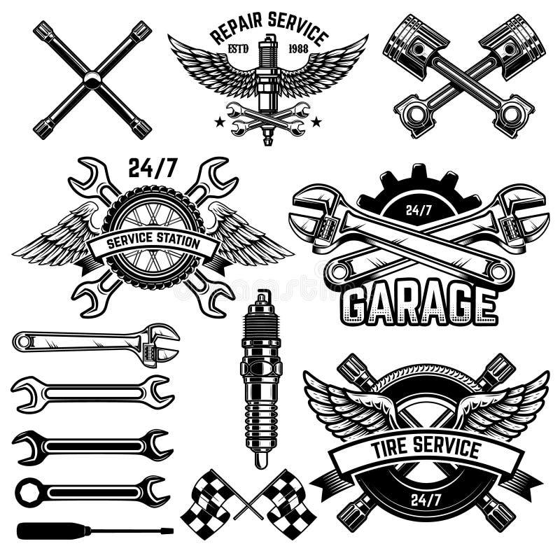 Установите эмблем станции обслуживания автомобиля и элементов дизайна Для логотипа, ярлык, знак, знамя, футболка, плакат бесплатная иллюстрация