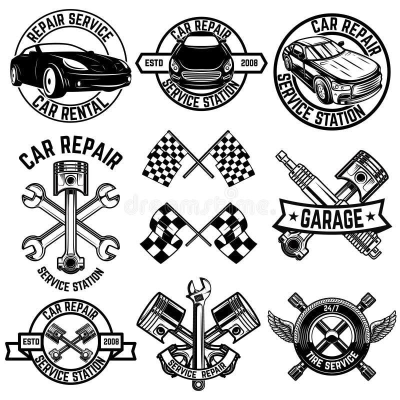 Установите эмблем станции обслуживания автомобиля и элементов дизайна Для логотипа, ярлык, знак, знамя, футболка, плакат иллюстрация вектора