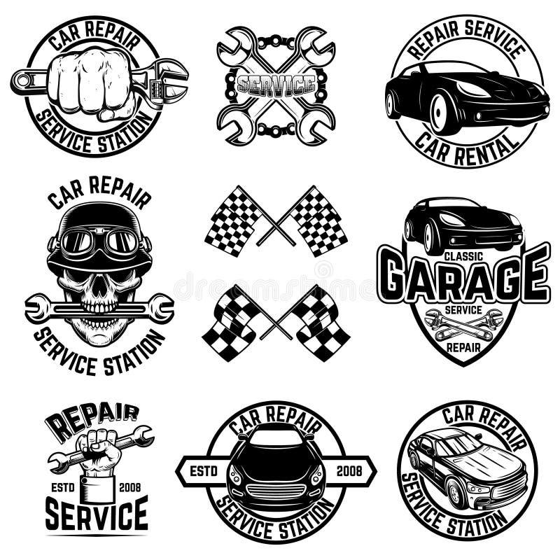 Установите эмблем станции обслуживания автомобиля и элементов дизайна Для логотипа, ярлык, знак, знамя, футболка, плакат иллюстрация штока