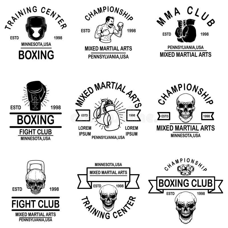 Установите эмблем Muttahida Majlis-E-Amal и клуба бокса Элемент дизайна для логотипа, ярлыка, знака, плаката, футболки иллюстрация штока