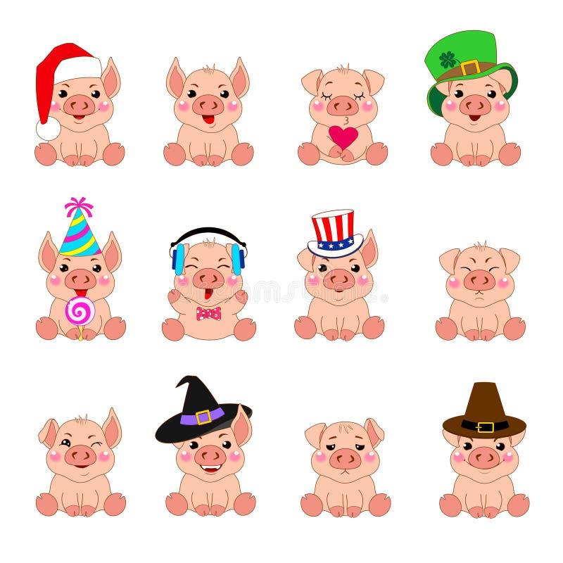 Установите эмоций смешных свиней в шляпах на различные праздники Персонаж из мультфильма, улыбки, символ года хряка, стикер, иллюстрация штока