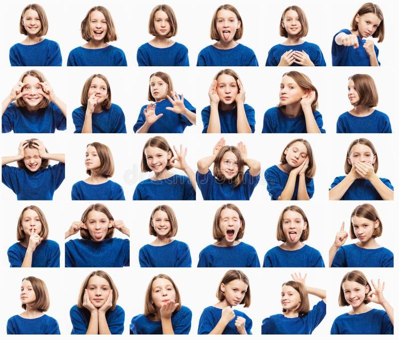Установите эмоциональных изображений предназначенной для подростков девушки, конца-вверх стоковые изображения