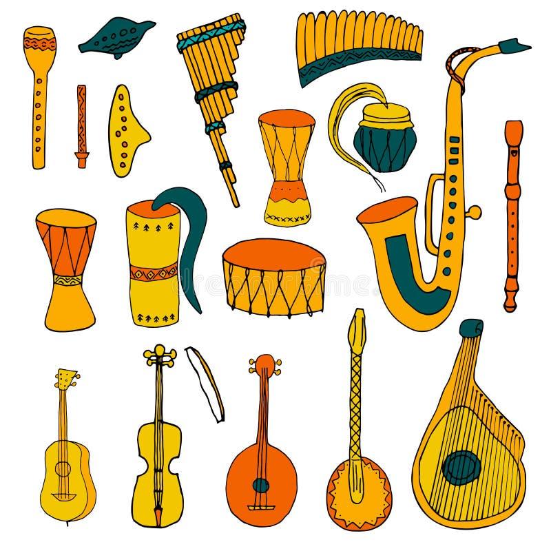 Установите этнических музыкальных народных инструментов в стиле руки вычерченном иллюстрация штока