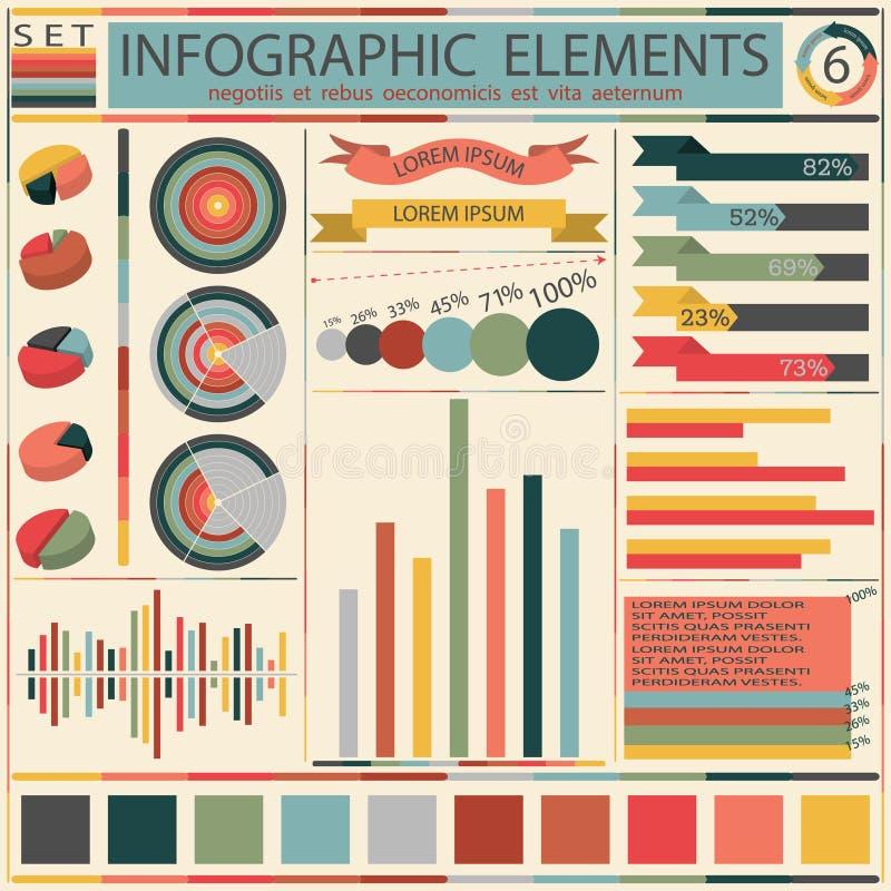 Установите элементы ретро infographics. Вектор иллюстрация вектора