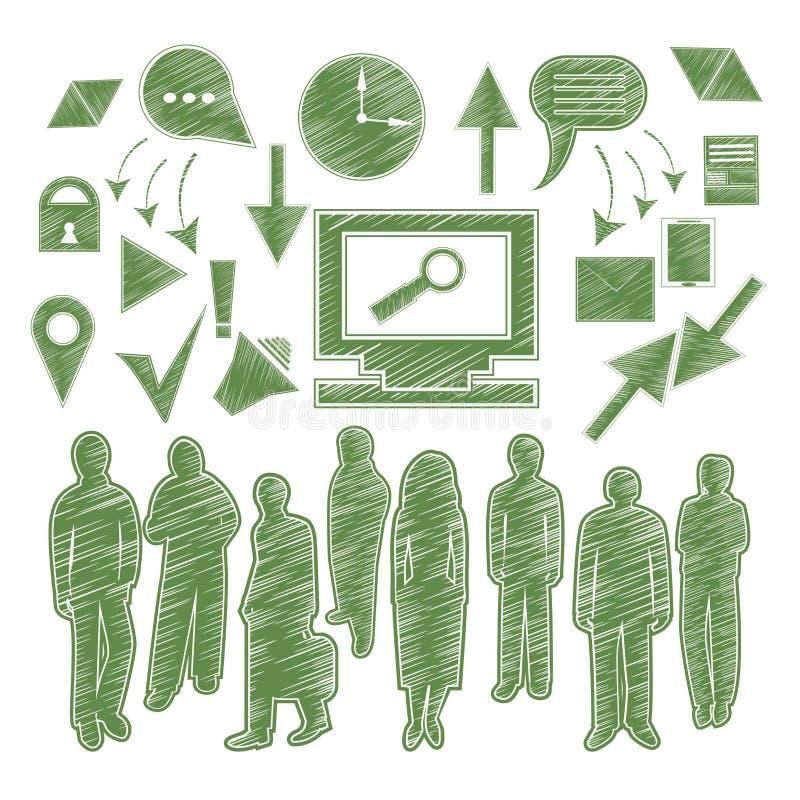 Установите людей значка, стрелку, устройства иллюстрация штока