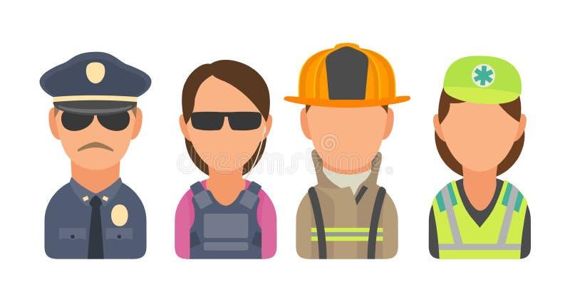 Установите людей характера значка Полиция, телохранитель, пожарный, медсотрудник иллюстрация штока
