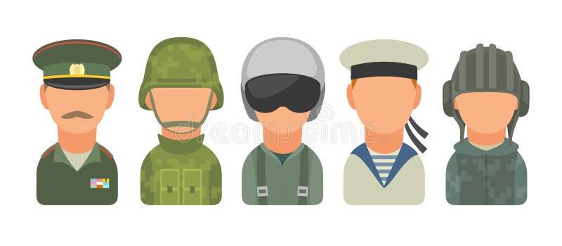 Установите людей характера значка русские воинские Солдат, офицер, пилот, морской пехотинец, гвардеец, матрос бесплатная иллюстрация