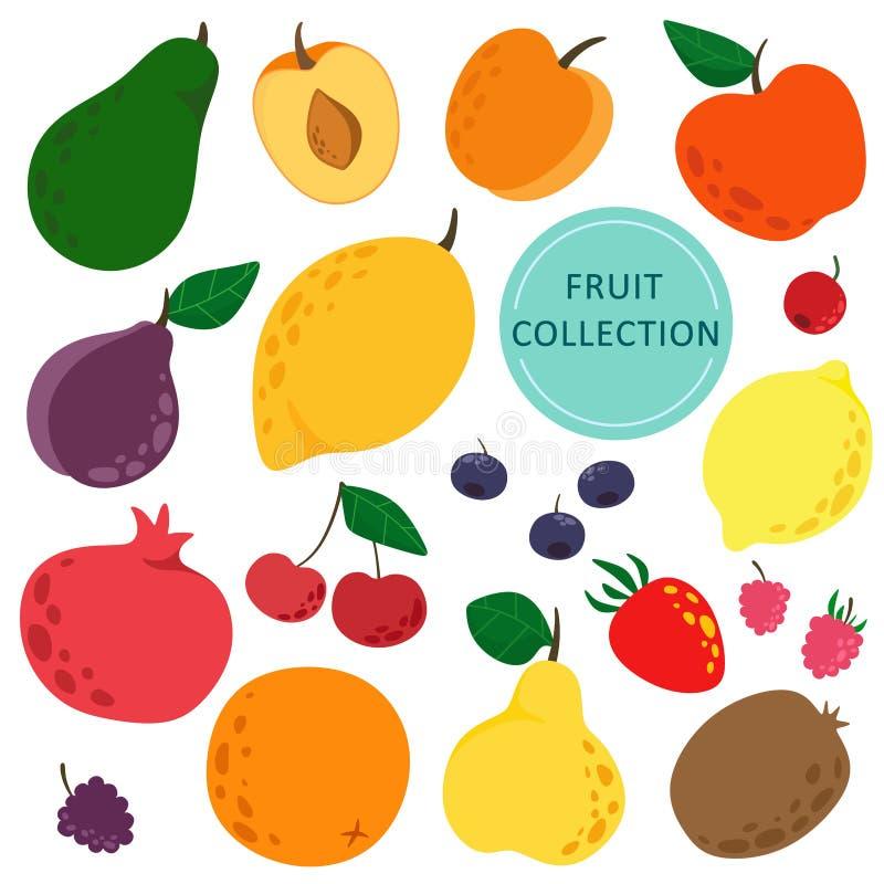 Установите ягод и плодов в стиле мультфильма Вектор изолирует на белой предпосылке бесплатная иллюстрация