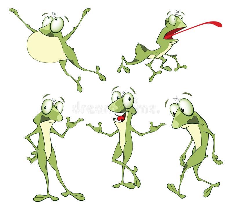 Установите лягушек иллюстрации шаржа милых зеленых для вас дизайн иллюстрация штока