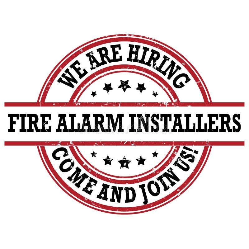 Установителя пожарной сигнализации - мы нанимаем - ярлык для печати бесплатная иллюстрация