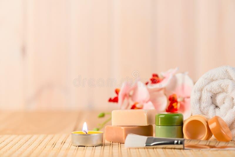 Установите для релаксации и заботы кожи курорта стоковые фото