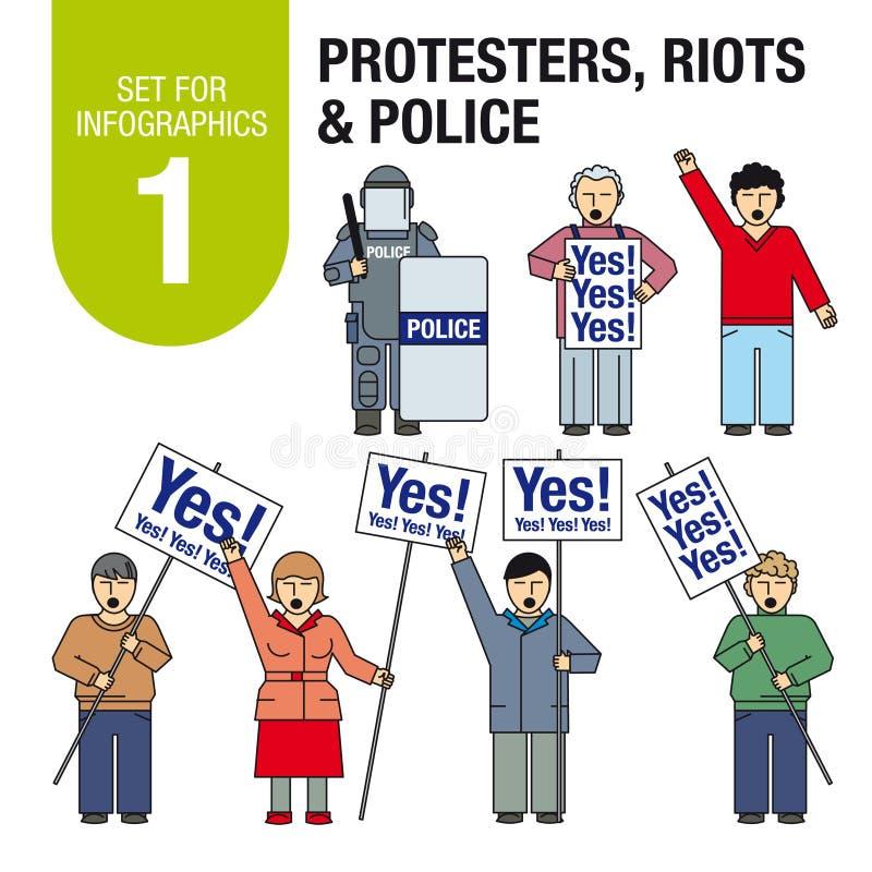 Установите для infographics # 1: Протестующие, бунты, полиция иллюстрация вектора