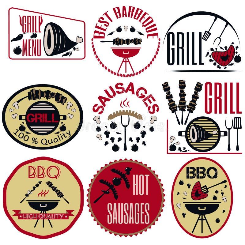 Установите bbq, гриль; сосиски; ресторан; стейк; ретро винтажный значок иллюстрация штока