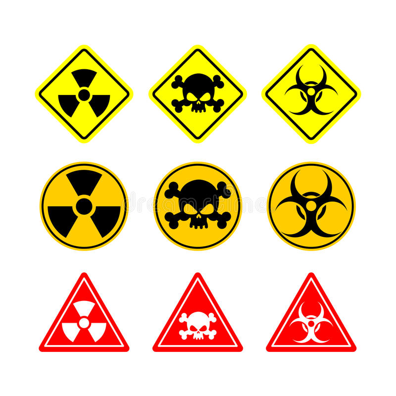 Установите Biohazard знака, токсичность, опасную Желтые знаки различного иллюстрация вектора