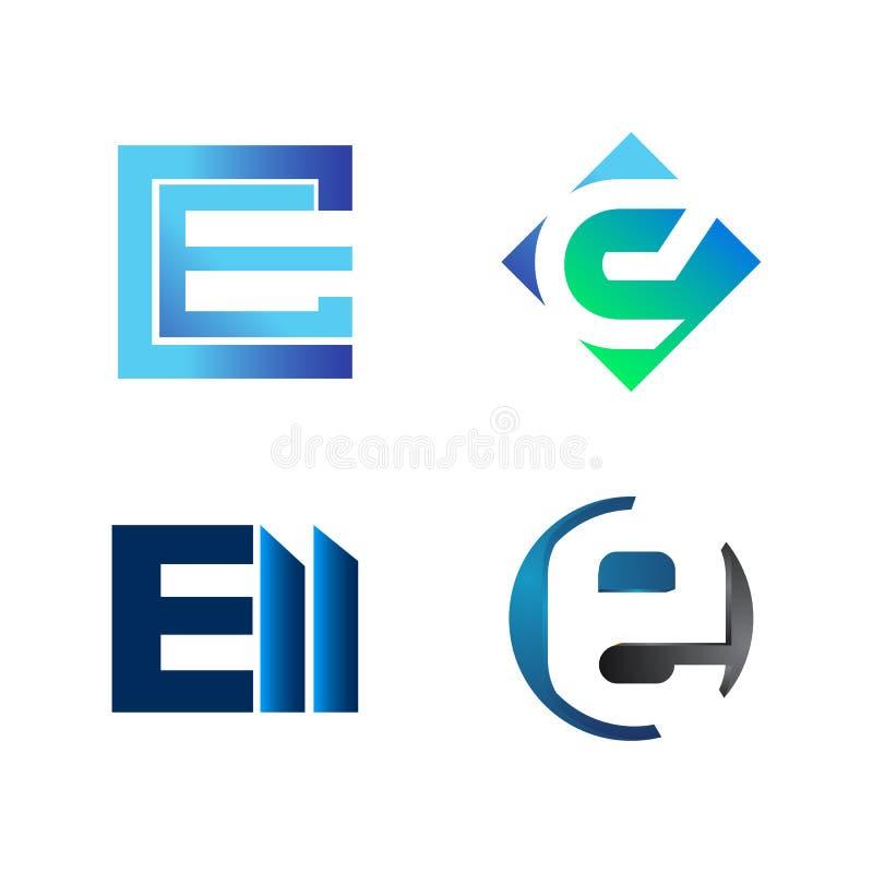 Установите CE начального письма, e, ФЛИГЕЛЯ, символа для шаблона дизайна логотипа дела Собрание значков конспектов современных дл иллюстрация вектора