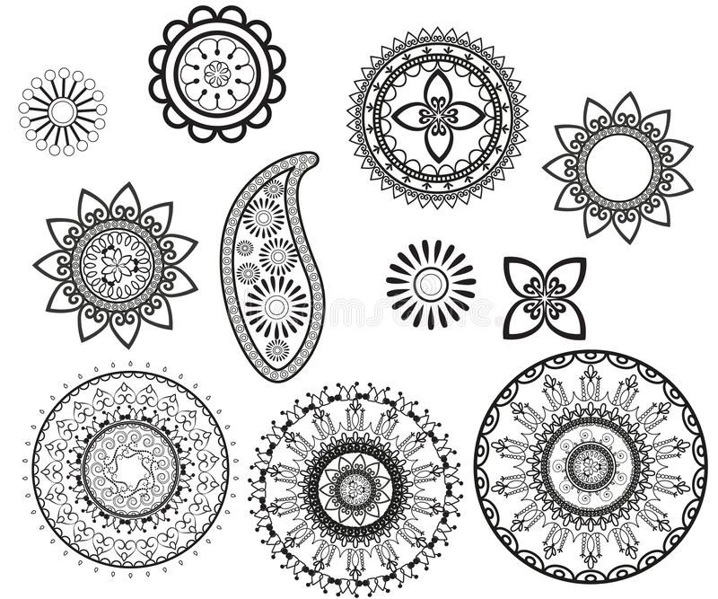 Установите curcular мандал и Пейсли Дизайн Mehndi бесплатная иллюстрация