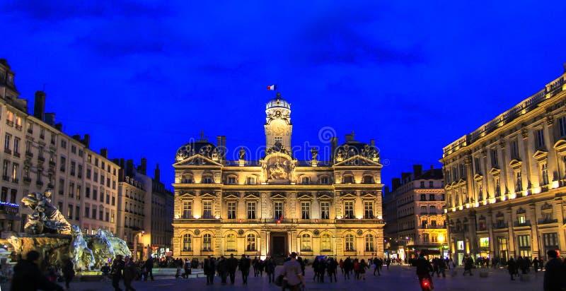 Установите des Terreux и здание муниципалитет Лиона, Францию стоковое фото rf