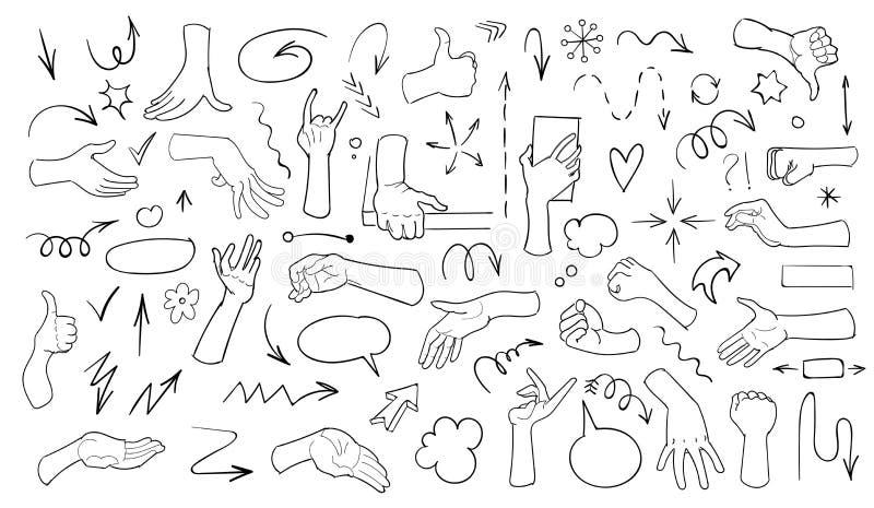 Установите doodle стрелки на белой предпосылке Рука нарисованная для того чтобы doodle реалистические руки r иллюстрация вектора