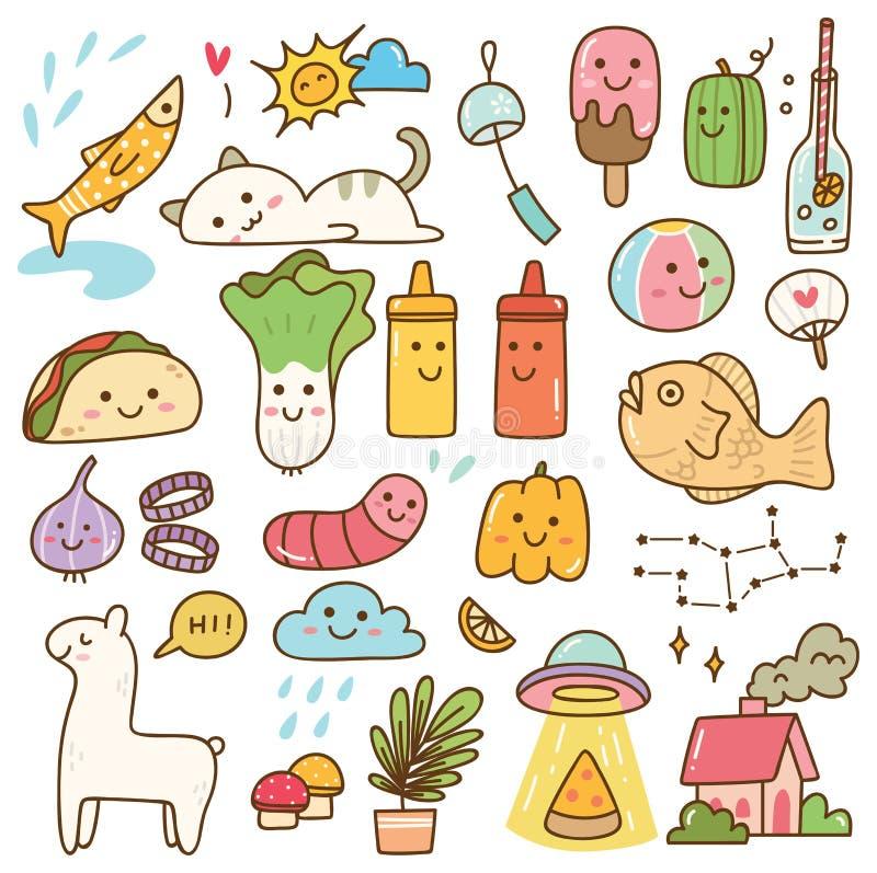 Установите doodle kawaii, еды, животного, и других объектов иллюстрация штока