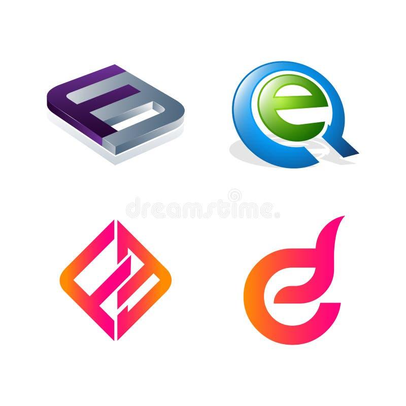 Установите FE начального письма, EQ, f, символа e для шаблона дизайна логотипа дела Собрание значков конспектов современных для о иллюстрация штока
