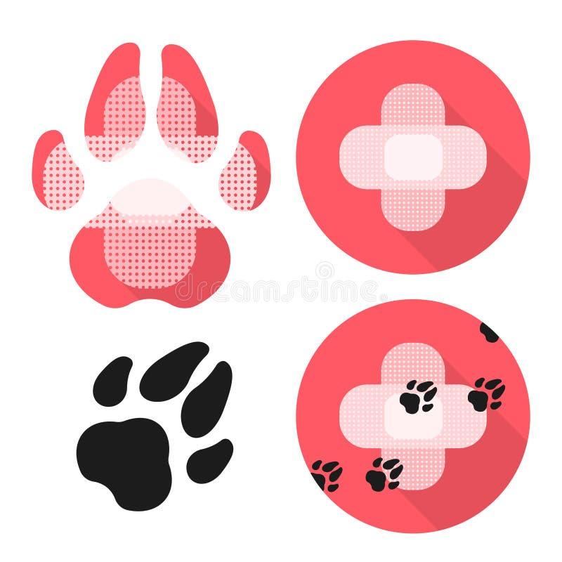 Установите Ikons с ветеринарной заботой Thematik Лапка и крест собаки сделанные из медицинского Patchs бесплатная иллюстрация