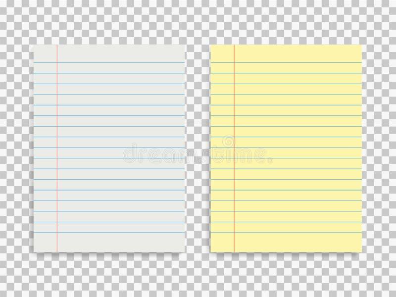 Установите 2 laned бумажной формы Шаблон пустого блокнота на изолированной предпосылке r иллюстрация вектора
