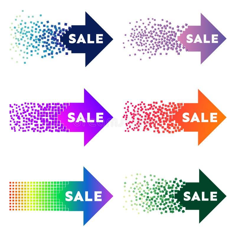 Установите 6 multi покрашенных знамен стрелки продажи с взрывом иллюстрация вектора