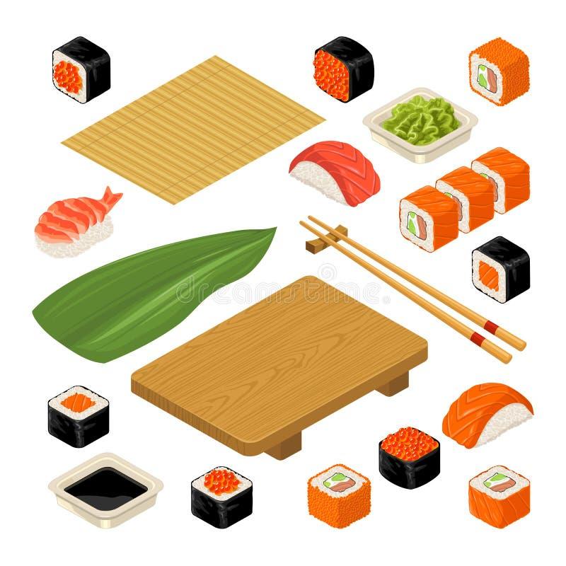 Установите nigiri и крены суш значка Послуженный с бамбуковой циновкой, палочками, wasabi, соевым соусом и плитой древесины иллюстрация вектора