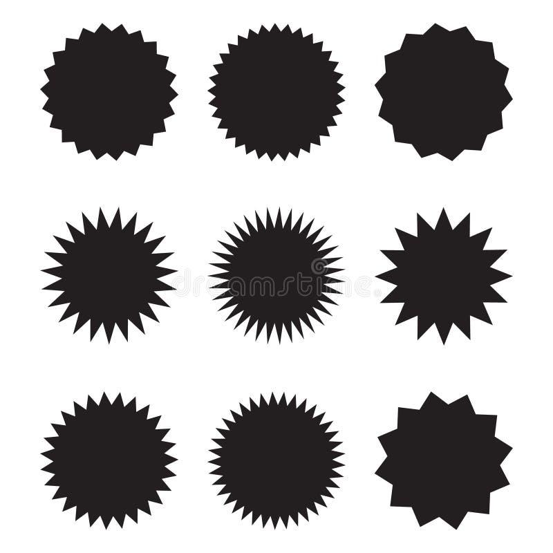 Установите starburst вектора, sunburst значков Черные значки на белой предпосылке Ярлыки простого плоского стиля винтажные, стике иллюстрация штока