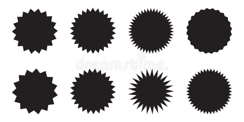 Установите starburst вектора, sunburst значков Черные значки на белой предпосылке Ярлыки простого плоского стиля винтажные, стике иллюстрация вектора