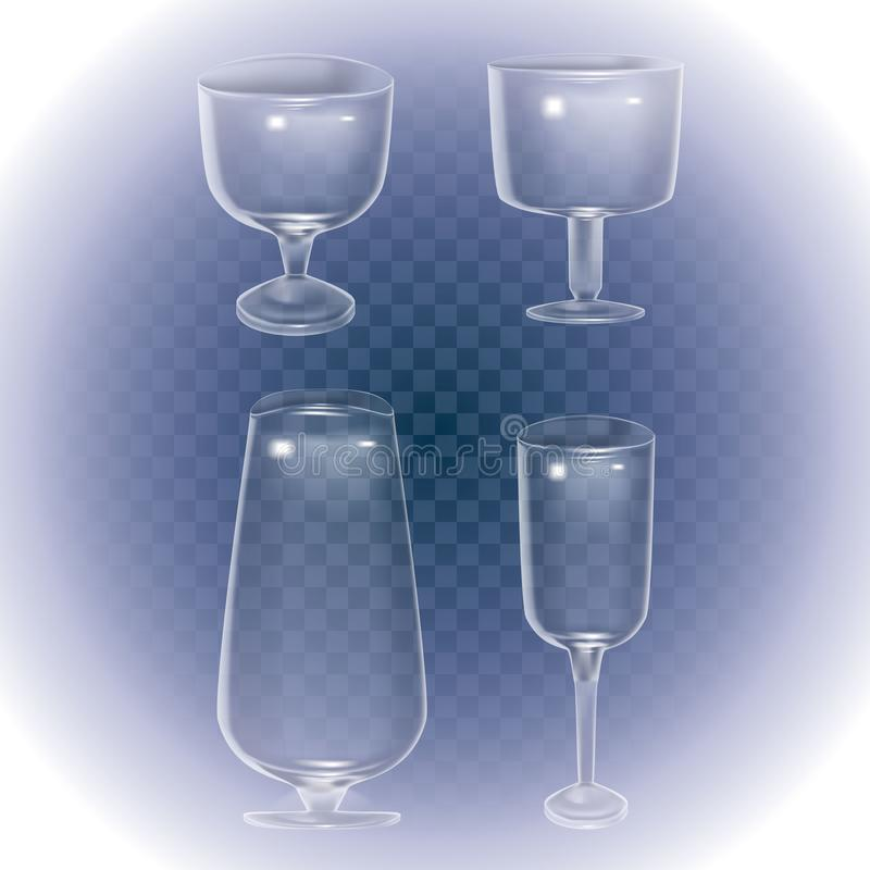 Установите stemware и стекел коктейля для алкоголя Пустая стеклянная чашка, стеклянный бокал на прозрачной предпосылке, значке ве бесплатная иллюстрация