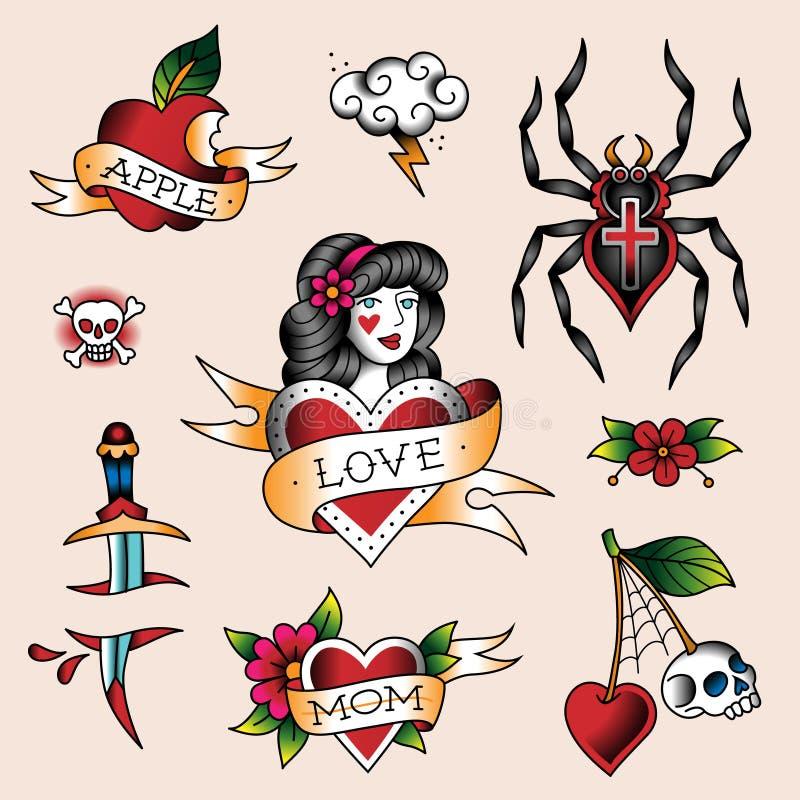 установите tattoos иллюстрация штока