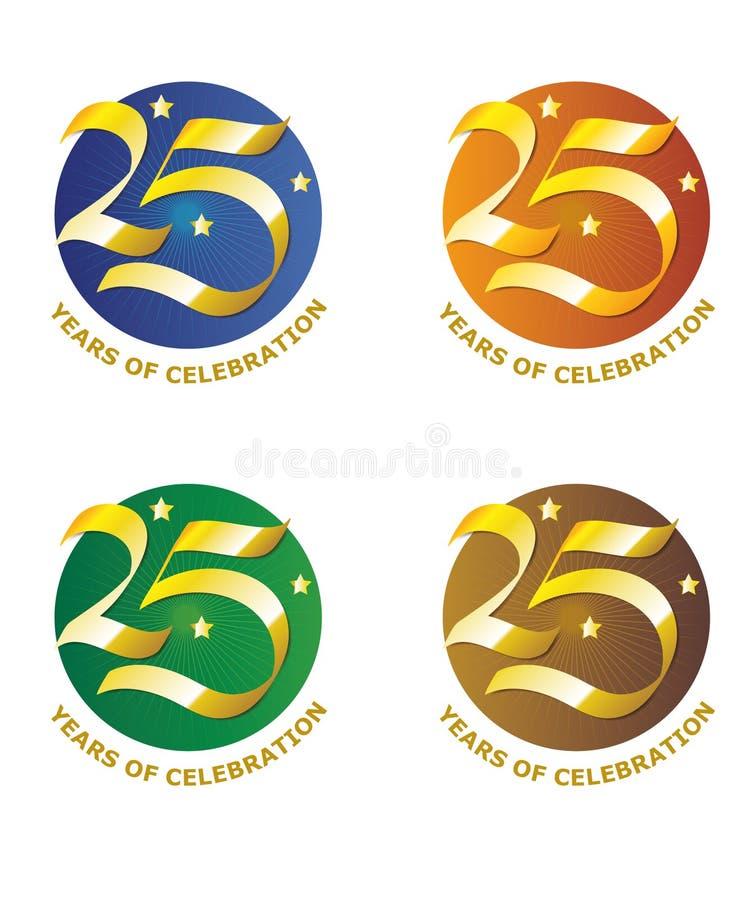 Установите 25th знаков годовщины бесплатная иллюстрация