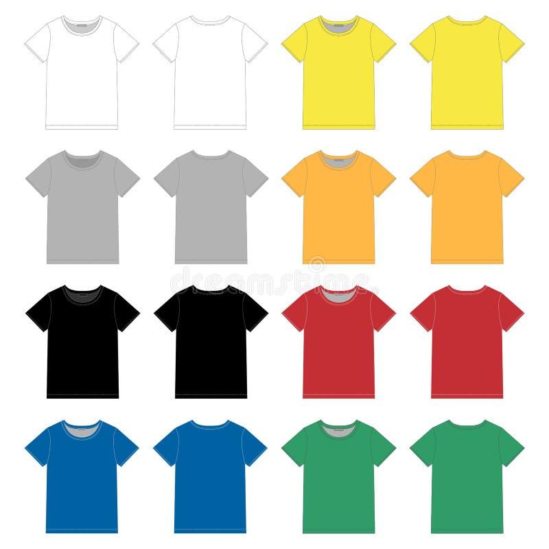 Установите unisex черного шаблона дизайна футболки Фронт и задняя часть иллюстрация вектора