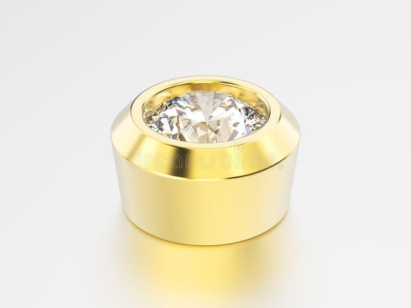 установка диаманта шатона желтого золота иллюстрации 3D иллюстрация вектора